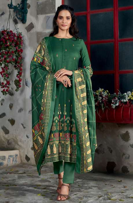 Spun Winterwear Digital Printed Unstitched Salwar Kameez In Bottle Green - KAR592