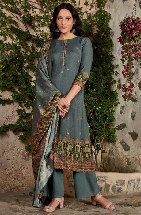 Spun Winterwear Digital Printed Unstitched Salwar Kameez In Grey - KAR593