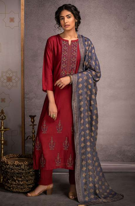 Pure Pashmina Exclusive Winter Salwar Suit In Maroon with Beautiful Dupatta - KAR8440