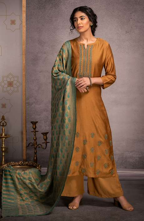 Pure Pashmina Exclusive Winter Salwar Suit In Mustard with Beautiful Dupatta - KAR8441
