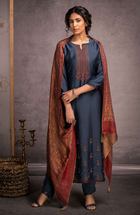 Pure Pashmina Exclusive Winter Salwar Suit In Blue with Beautiful Dupatta - KAR8442