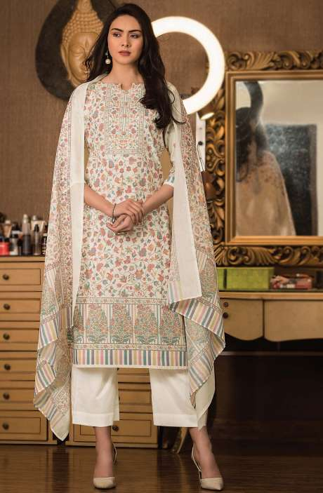 Cotton Digital Kani Print Unstitched Salwar Kameez in Cream - KAS2201