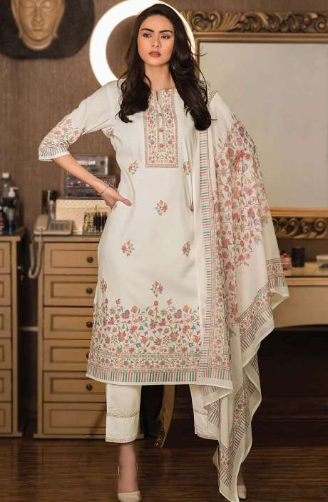 Cotton Digital Kani Print Unstitched Salwar Kameez in Cream - KAS2202