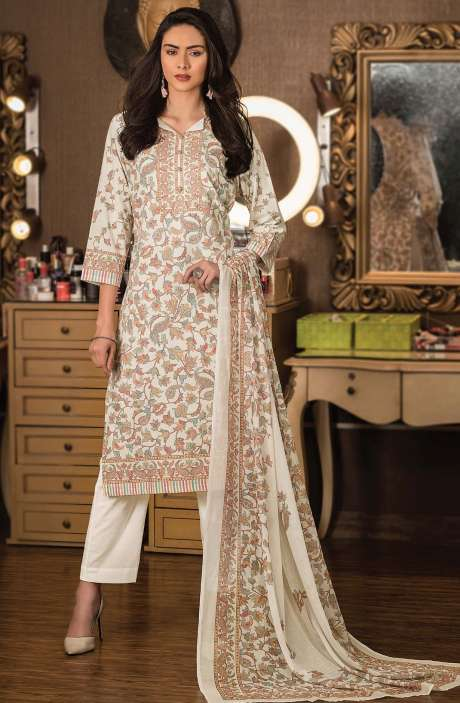 Cotton Digital Kani Print Unstitched Salwar Kameez in Cream - KAS2203