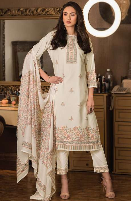 Cotton Digital Kani Print Unstitched Salwar Kameez in Cream - KAS2204