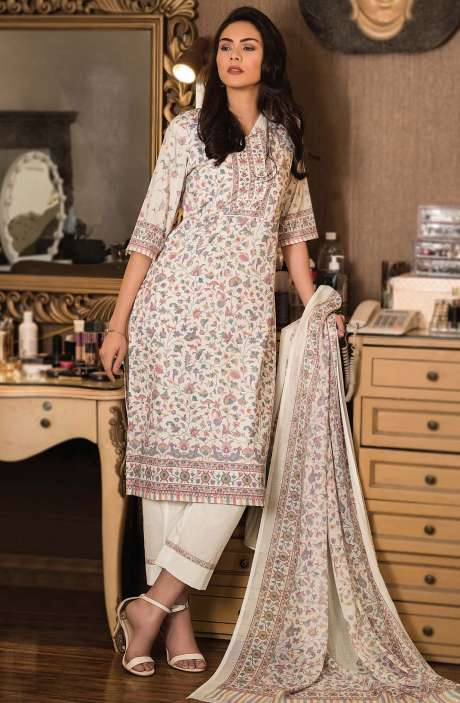 Cotton Digital Kani Print Unstitched Salwar Kameez in Cream - KAS2205