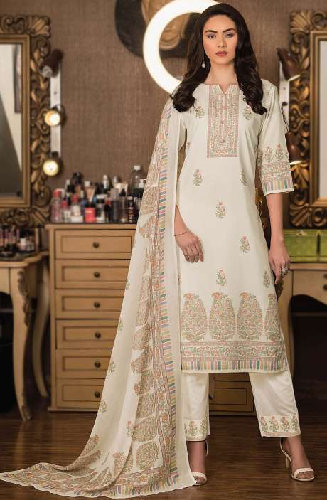Cotton Digital Kani Print Unstitched Salwar Kameez in Cream - KAS2206