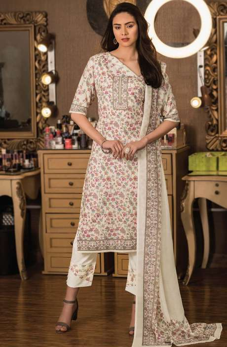 Cotton Digital Kani Print Unstitched Salwar Kameez in Cream - KAS2207