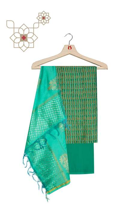 Designer Cotton Silk Unstitched Salwar Suit Set in Green - KDPCND7643C