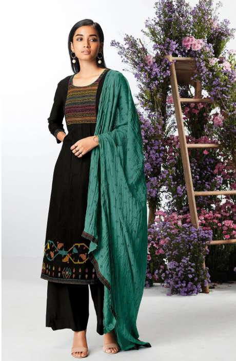 Casual Spun Winterwear Salwar Kameez In Black - KEFC0442