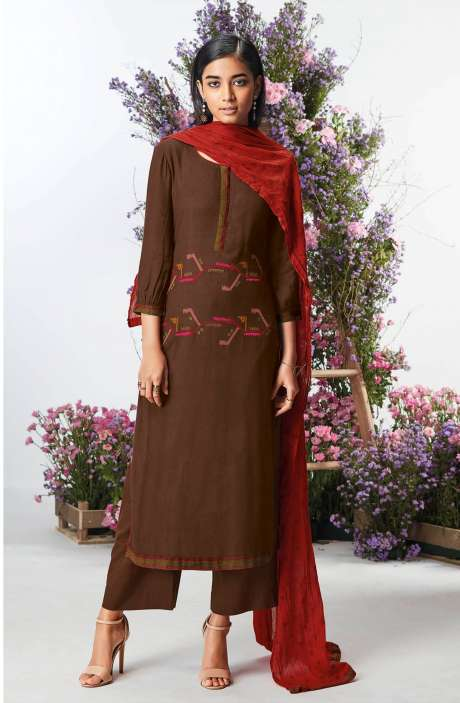 Casual Spun Winterwear Salwar Kameez In Brown - KEFC0443
