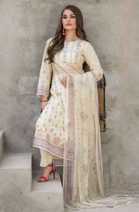 Modal Cotton Digital Printed Unstitched Salwar Suit Sets In Light Yellow - KHA1372