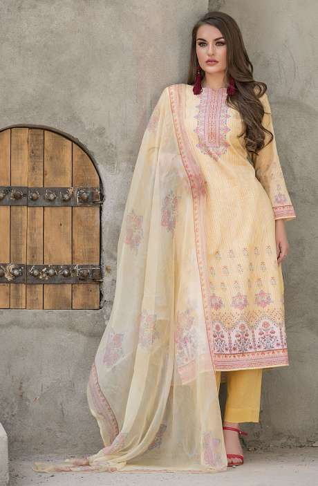 Modal Cotton Digital Printed Unstitched Salwar Suit Sets In Yellow - KHA1376