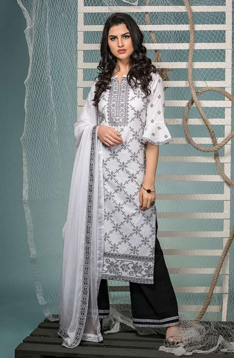 Cotton Jacquard Suit Set In White & Black with Chiffon Dupatta - KIN5400
