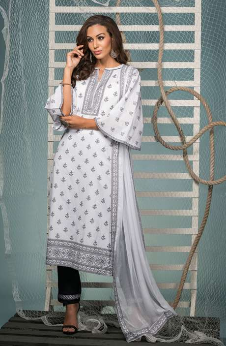 Cotton Jacquard Suit Set In White & Black with Chiffon Dupatta - KIN5401