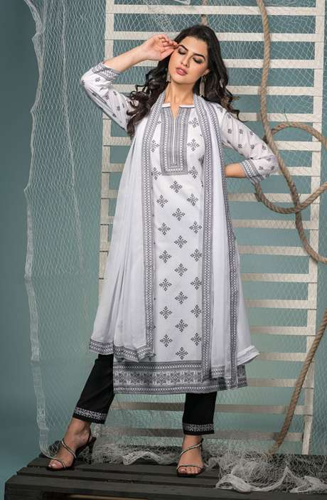 Cotton Jacquard Suit Set In White & Black with Chiffon Dupatta - KIN5402