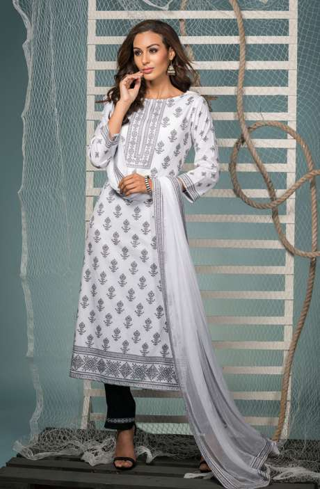 Cotton Jacquard Suit Set In White & Black with Chiffon Dupatta - KIN5403