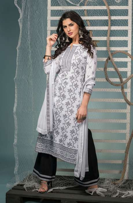 Cotton Jacquard Suit Set In White & Black with Chiffon Dupatta - KIN5404