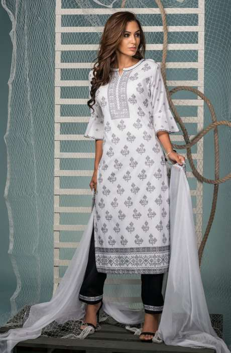 Cotton Jacquard Suit Set In White & Black with Chiffon Dupatta - KIN5405