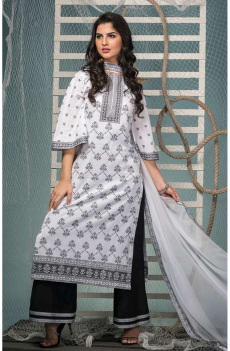 Cotton Jacquard Suit Set In White & Black with Chiffon Dupatta - KIN5406