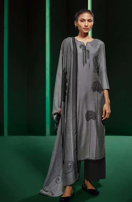 Grey and Black Muslin Silk Unstitched Suit - KOVS0523A
