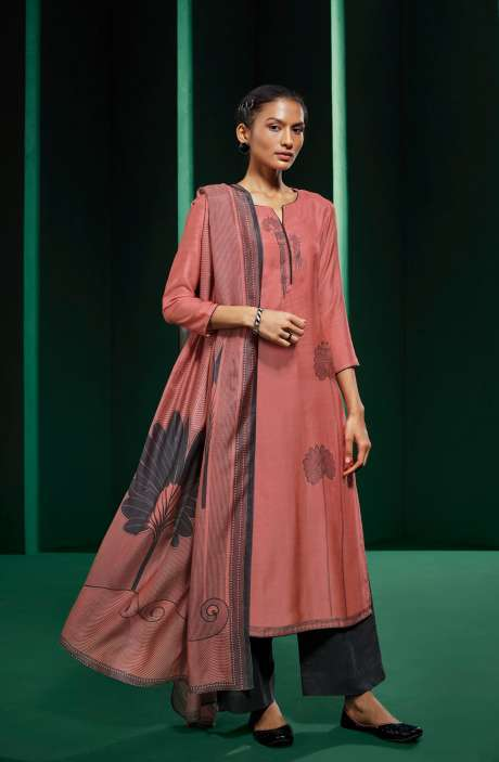 Peach and Grey Muslin Silk Unstitched Suit - KOVS0523D