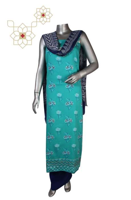 Cotton Unstitched Digital Print Suit Sets  in Sea Green - KRUPALI01