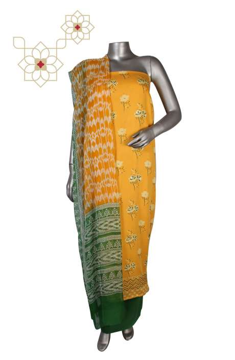Cotton Unstitched Digital Print Suit Sets  in Yellow - KRUPALI01C