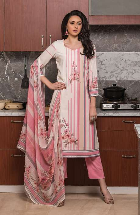 Beautiful Digital Printed Cotton Voile Salwar Kameez In Multi & Pink - KUR2651