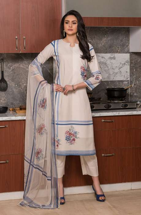 Beautiful Digital Printed Cotton Voile Salwar Kameez In Cream - KUR2652