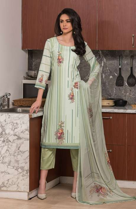 Beautiful Digital Printed Cotton Voile Salwar Kameez In Green - KUR2653