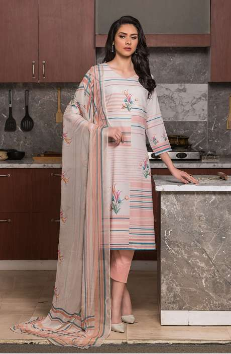 Beautiful Digital Printed Cotton Voile Salwar Kameez In Multi & Peach - KUR2654
