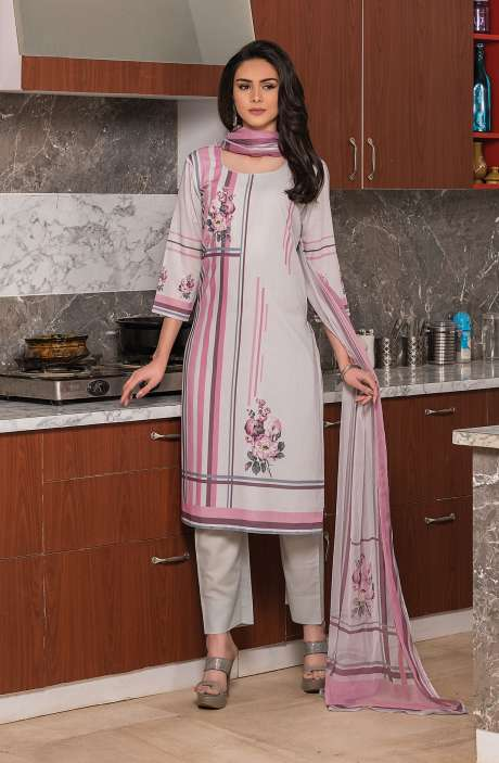 Beautiful Digital Printed Cotton Voile Salwar Kameez In Multi & Grey - KUR2655