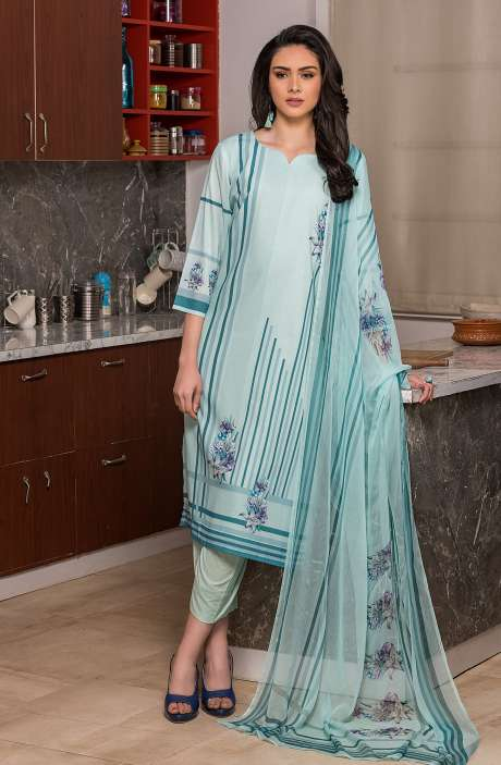 Beautiful Digital Printed Cotton Voile Salwar Kameez In Turquoise - KUR2656