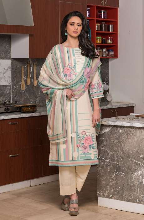 Beautiful Digital Printed Cotton Voile Salwar Kameez In Fawn - KUR2657