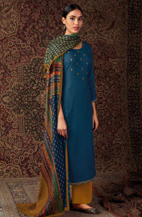 Spun Dobby Printed Unstitched Salwar Kameez In Blue - LAAS0249A