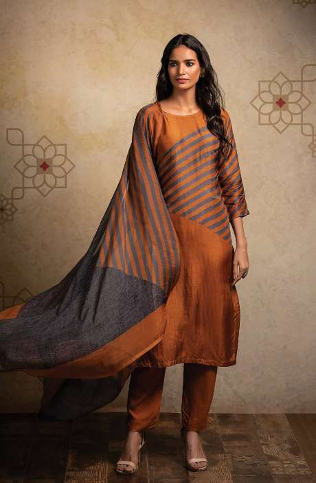 Designer Semi-stitched Russian Silk Suit Set In Mustard & Grey - LAK8510A