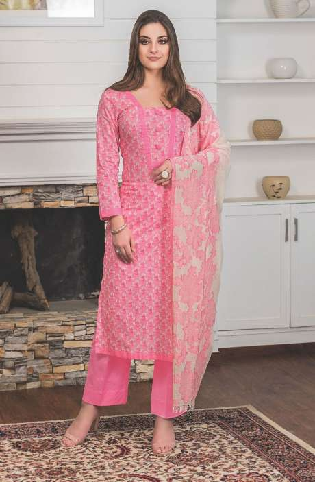 Digital Floral Printed Cotton Pink Salwar Kameez Fabric - LAM771A-R