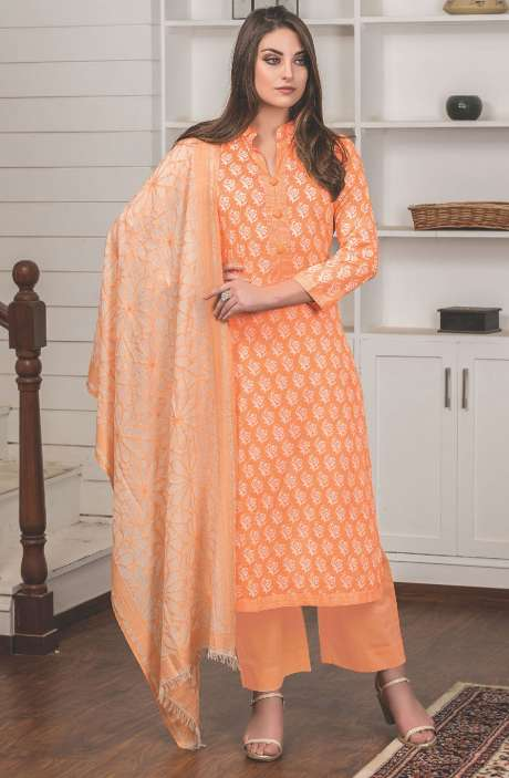 Digital Floral Printed Cotton Orange Salwar Kameez Fabric - LAM772A-R