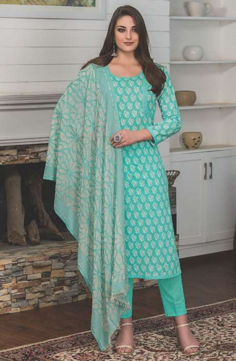Digital Floral Printed Cotton Mint Green Salwar Kameez Fabric - LAM772B-R