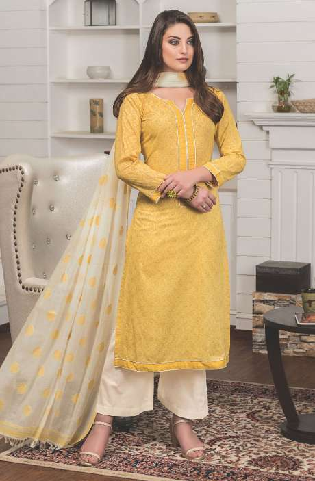 Digital Floral Printed Cotton Yellow Beige Salwar Kameez Fabric - LAM773B