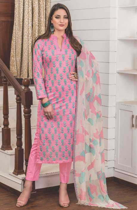 Digital Floral Printed Cotton Pink Salwar Suit Sets - LAM774A