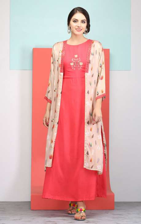 Embellished and Digital Printed Rani Color and Cream Cotton Stitched Kurti with Jacket - R157-LDS54
