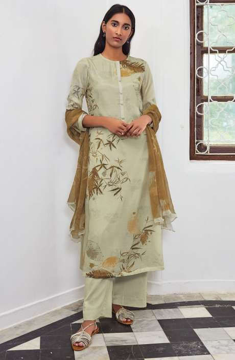Cotton Satin Digital Printed Unstitched Salwar Suit In Cream with Hand Work - LEA911
