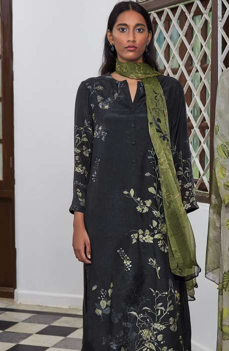 Cotton Satin Digital Printed Unstitched Salwar Suit In Black with Hand Work - LEA912