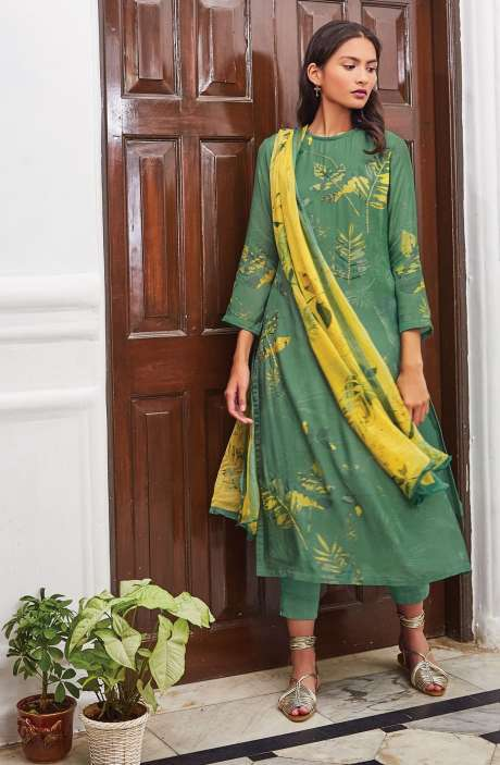 Cotton Satin Digital Printed Unstitched Salwar Suit In Green with Hand Work - LEA928
