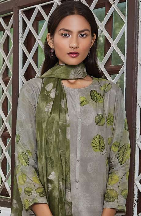 Cotton Satin Digital Printed Unstitched Salwar Suit In Grey with Hand Work - LEA954