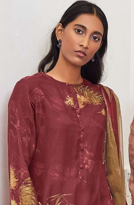 Cotton Satin Digital Printed Unstitched Salwar Kameez In Maroon with Hand Work - LEA967