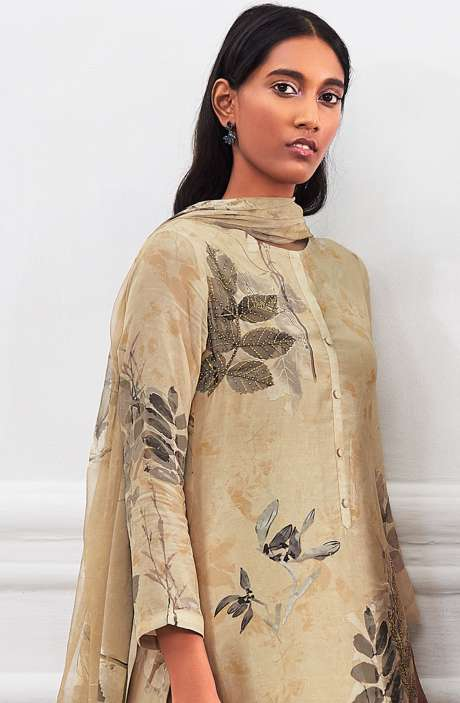 Cotton Satin Digital Printed Unstitched Salwar Suit In Beige with Hand Work - LEA972