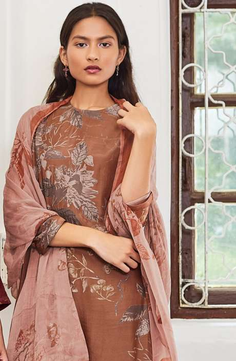 Cotton Satin Digital Printed Unstitched Salwar Suit In Rust with Hand Work - LEA990